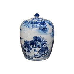 Beautiful Blue and White Blue Willow Motif Porcelain Ginger Jar 15""