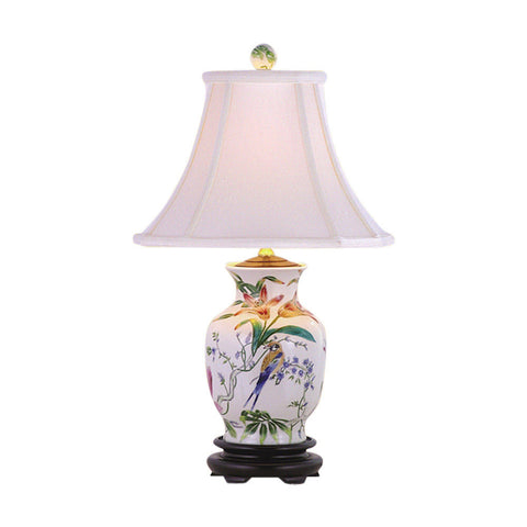 Chinese Bird Motif Porcelain Vase Table Lamp 20.5""