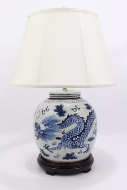 Beautiful Blue and White Porcelain Flat Top Ginger Jar Table Lamp Dragon Motif
