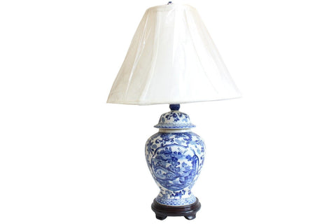 Blue and White Blue Willow Porcelain Temple Jar Table Lamp 21""