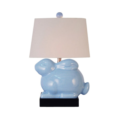 Cute Sky Blue Porcelain Rabbit Table Lamp 15""