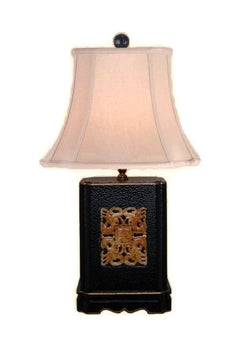 Beautiful Chinese Black Lacquer Box Jade Inlay Table Lamp w Shade and Finial 22""