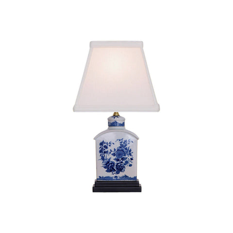 Blue and White Floral Porcelain Tea Caddy Table Lamp 13""