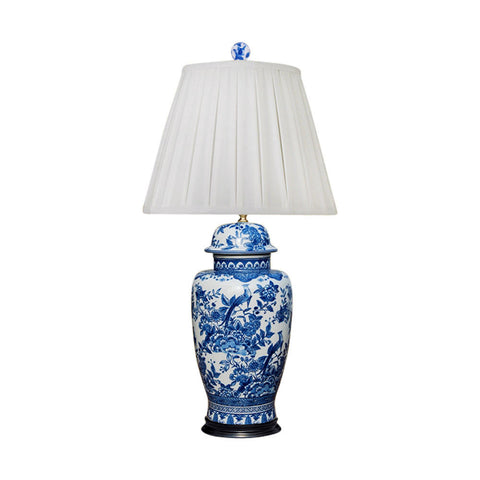 Blue and White Bird and Floral Motif Porcelain Temple Jar Table Lamp 29""