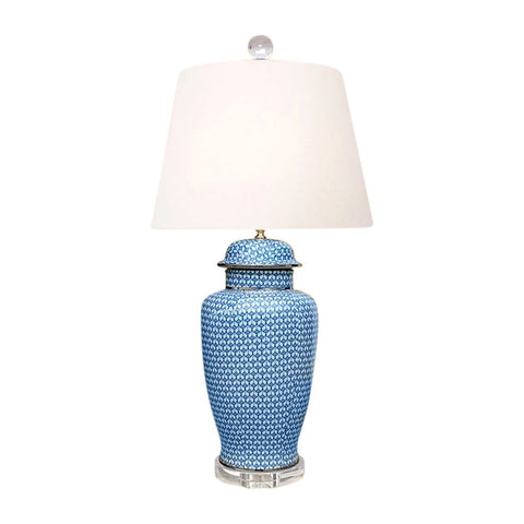 Beautiful Blue and White Porcelain Temple Jar Patterned Table Lamp 29""