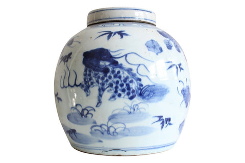Beautiful Blue and White Porcelain Ginger Jar Kylin and Phoenix Motif 10""
