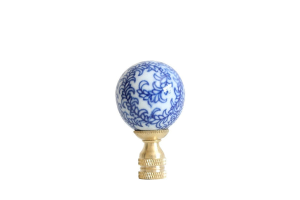 Beautiful Blue and White Floral Motif Porcelain Ball Finial
