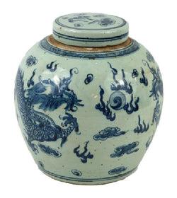 Vintage Style Blue and White Porcelain Lidded Ginger Jar Dragon Motif 10""