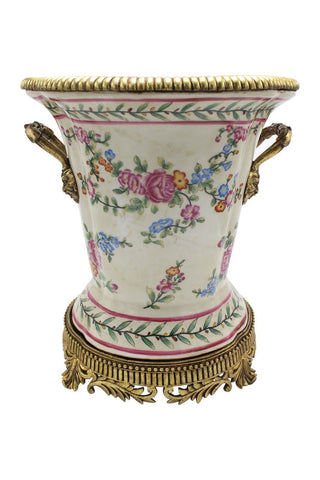 Beautiful Chinoiserie Rose Bud Porcelain Vase Brass Ormolu Accents 12.5""