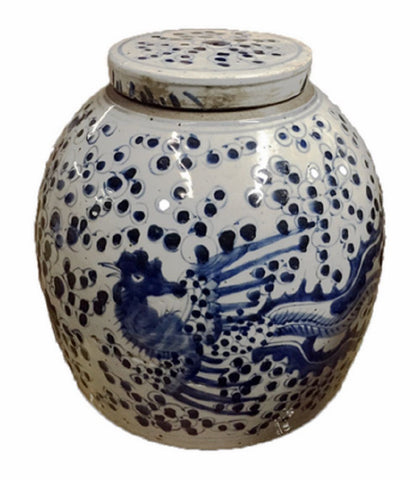 Vintage Style Blue and White Porcelain Lidded Ginger Jar Phoenix Motif 11""