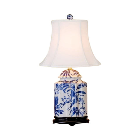 Chinese Blue and White Porcelain Tea Caddy Bird Motif Table Lamp 22""