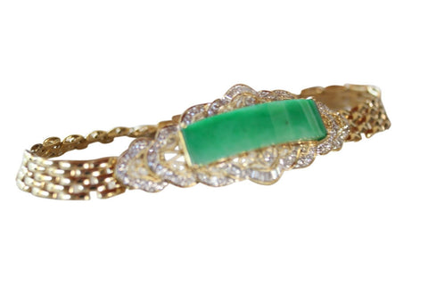 Imperial Jade Jadeite Grade A Untreated 18K Gold Bracelet 0.72ct Diamonds 6.75in