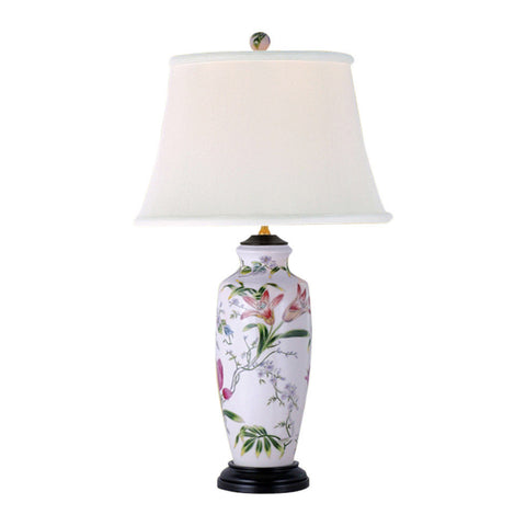 Floral Motif Porcelain Vase Table Lamp 27""
