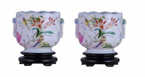 Pair of Round Scallop Rim Bird and Floral Porcelain Pot Wooden Base 7""