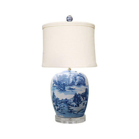 Blue and White Blue Willow Porcelain Ginger Jar Table Lamp 27""