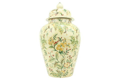 Large French Style Chinoiserie Wild Berry Floral Porcelain Temple Jar 25""