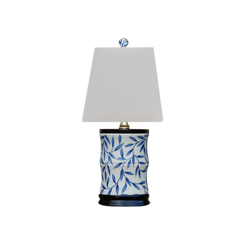 Blue and White Floral Motif Porcelain Vase Table Lamp 15""