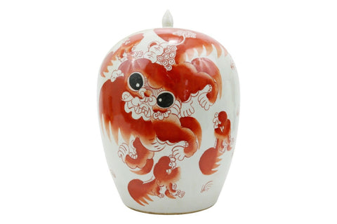Beautiful Orange/Coral And White Foo Dog Porcelain Ginger Jar 12""