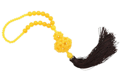 "Cute Yellow Stone Beaded Gourd Tassel 15"" Length"