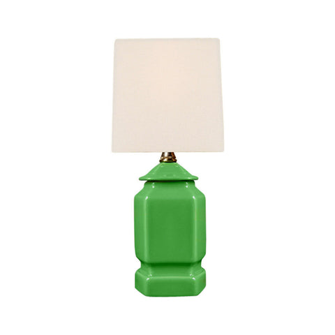Green Blue Porcelain Hexagonal Jar Table Lamp 12.5""