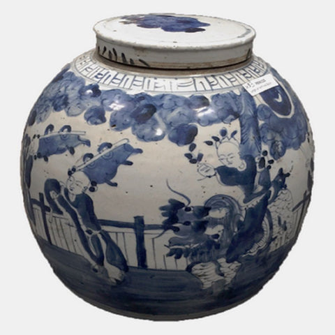 Vintage Style Blue and White Porcelain Lidded Ginger Jar Kids Qilin Motif 11""