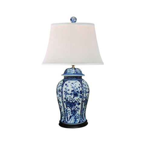 Blue and White Floral Porcelain Temple Jar Table Lamp 32""