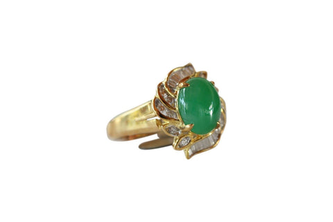 Fine Size 6.75 Round Imperial Jade Ring with 0.472ct Diamonds 18K Gold Band