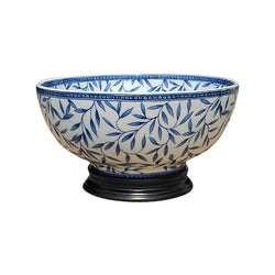 "Blue and White Porcelain Bamboo Leaf Motif Bowl with Base 14"" Diameter"