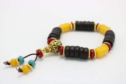 Stone and Wood Beaded Bracelet Gold Color Gourd Yellow Red Black Turqoise