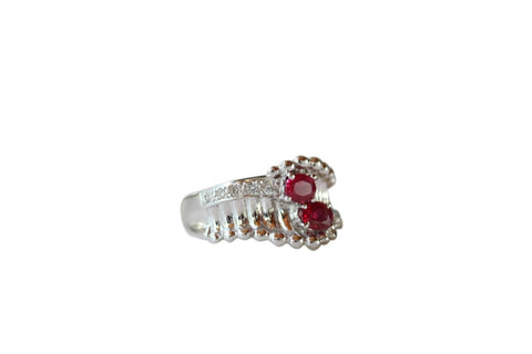Size 5 18K Gold Beautiful Twin Ruby Eyed Ring 0.62ct Rubies