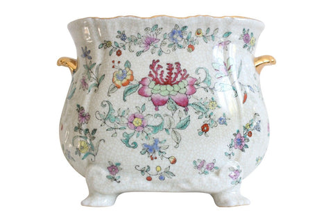 Beautiful Chinese Porcelain Oval Pot Floral Pattern