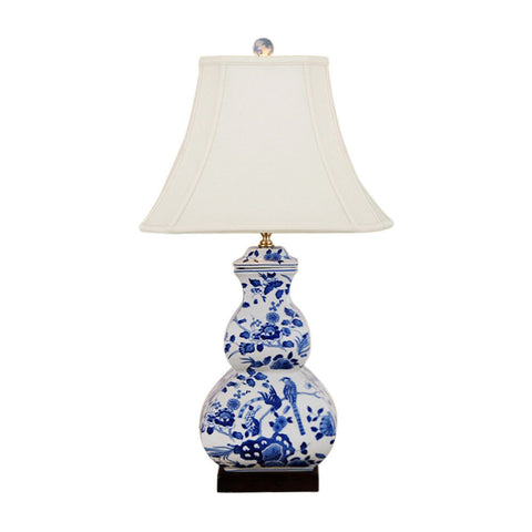 Beautiful Blue and White Bird Motif Porcelain Table Lamp 27""