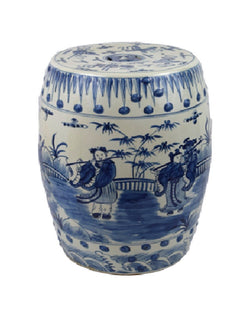 Blue and White Porcelain 8 Immortals Motif Garden Stool 18""