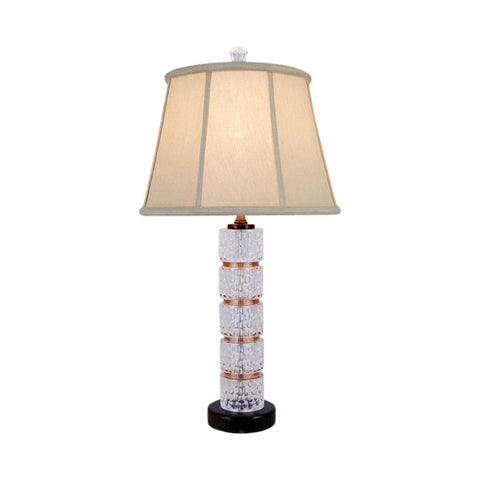 Beautiful Crystal with Brown Jade Stone Round Table Lamp 25""