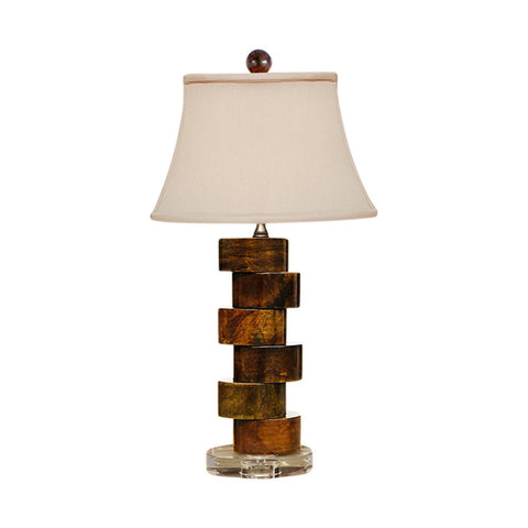 Beautiful Jade Stone Round Staggered Table Lamp with Acrylic Base 24""