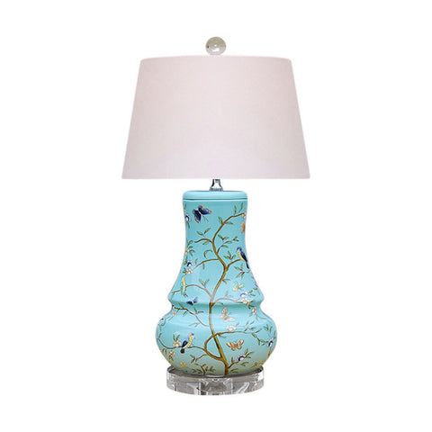 Cute Sea Foam Green Bird Motif Porcelain Vase Table Lamp 23""