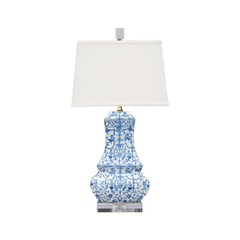 Blue and White Floral Porcelain Vase Clear Base Table Lamp 24""