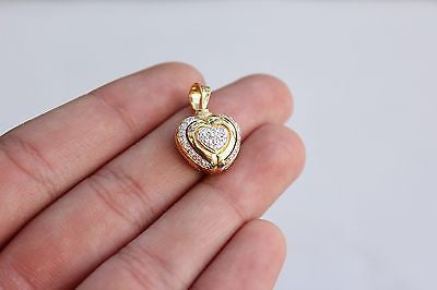 18K Yellow Gold Diamond Studded Heart Shaped Pendant