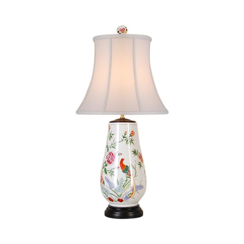 Beautiful Chinese Vase Floral Peacock Bird Motif Porcelain Table Lamp 31""
