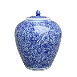 Beautiful Blue and White Cluster Flower Porcelain Ginger Jar 14""