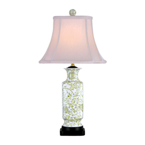 Beautiful White and Green Tapestry Vase Porcelain Table Lamp 24""
