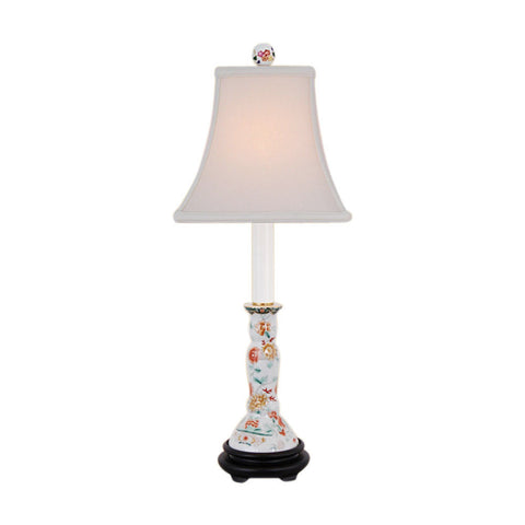 Beautiful Floral Chinese Porcelain Candlestick Holder Table Lamp 25""