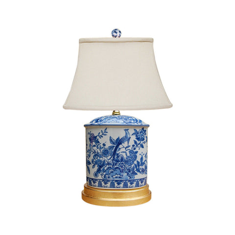 Blue and White Porcelain Oval Floral Bird Motif Table Lamp 20""