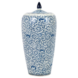 Beautiful Blue and White Lotus Porcelain Melon Jar 19""
