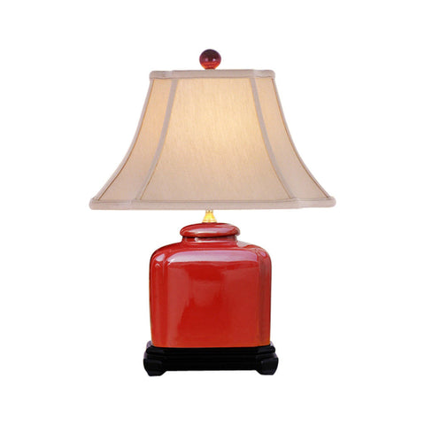 Beautiful Red Color Porcelain Jar Table Lamp 19""