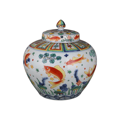 Beautiful Multi Color Porcelain Fish Motif Ginger Jar 15""