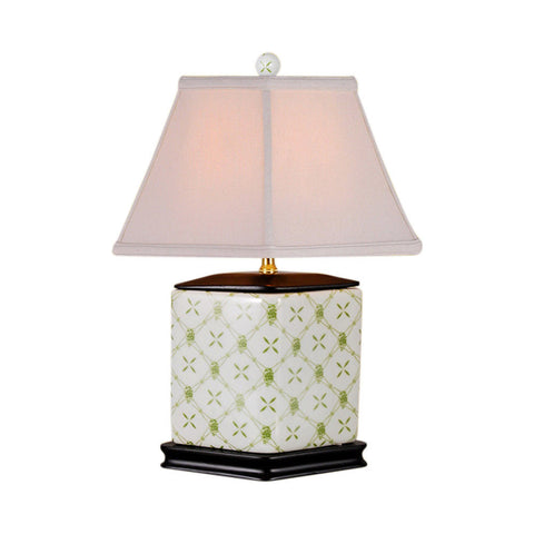 White and Green Geometric Diamond Shaped Porcelain Table Lamp 16""