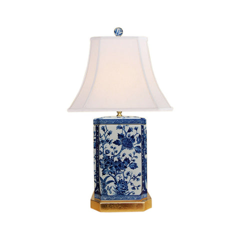 Blue and White Porcelain Floral Motif Square Vase Table Lamp 25""