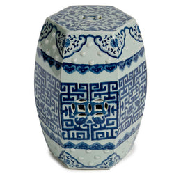 Blue and White Hexagonal Geometric Porcelain Garden Stool 19""