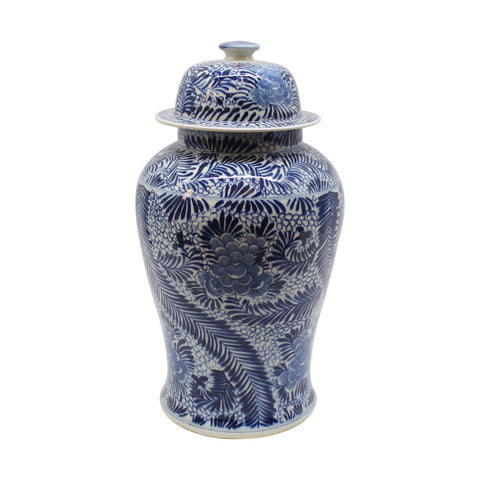 Beautiful Blue and White Porcelain Feather Floral Style Temple Jar 22""
